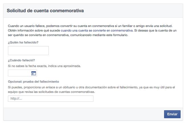 cuenta conmemorativa facebook