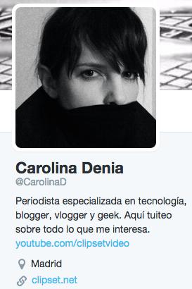 biografía de Twitter Carolina Denia