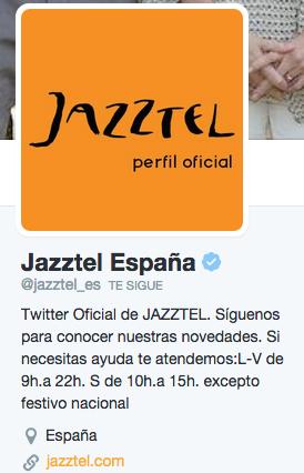 biografía de Twitter Jazztel