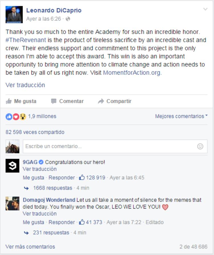 Leonardo DiCaprio en fb