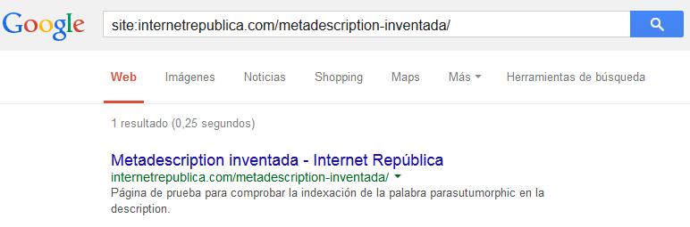 Meta descripton inventada (indexada)