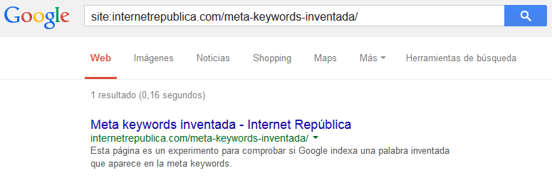Meta keywords inventada (indexada)