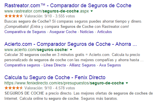 top landing pages seguros de coche