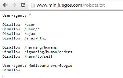 Robots.txt minijuegos