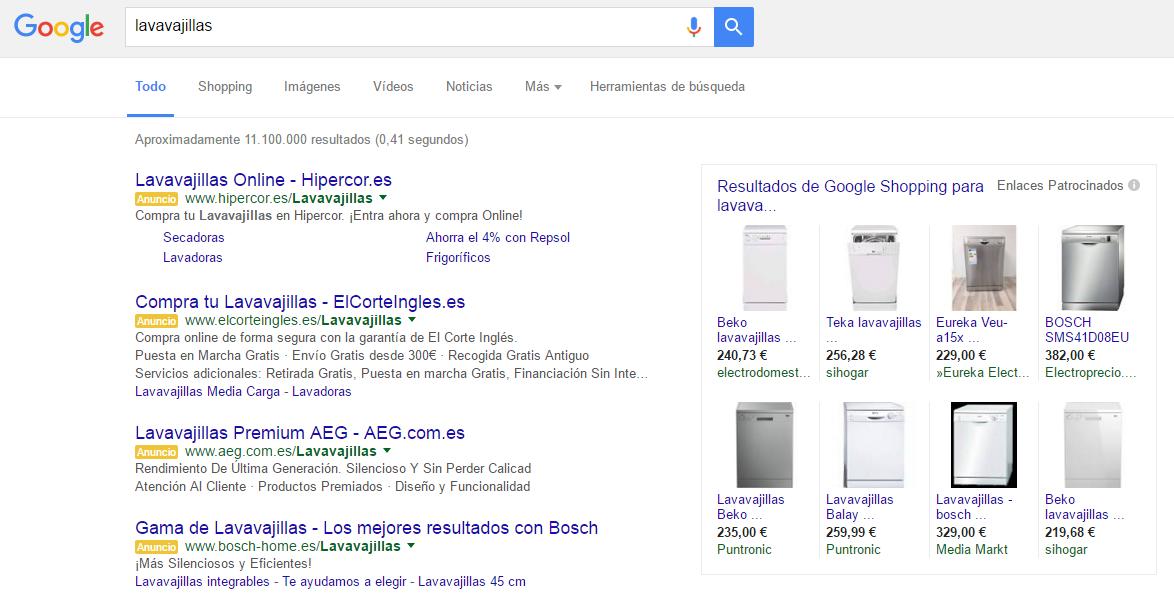 Ejemplo de búsqueda con 4 anuncios y Google Shopping