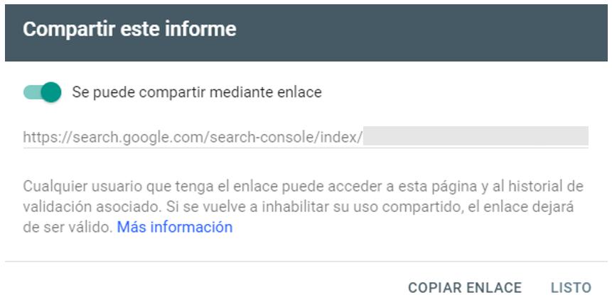 Compartir informe en Nuevo Search Console