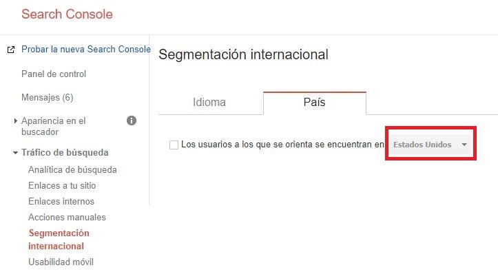 segmentación internacional país