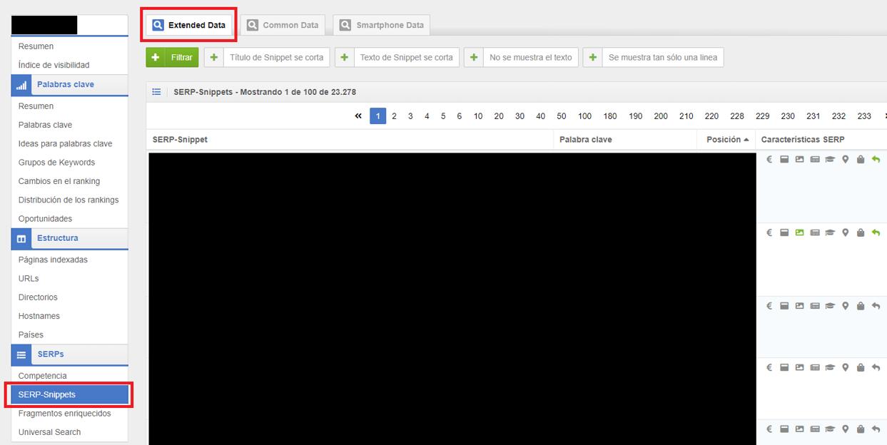 Lista de snippets de posición 0 de Google en Sistrix