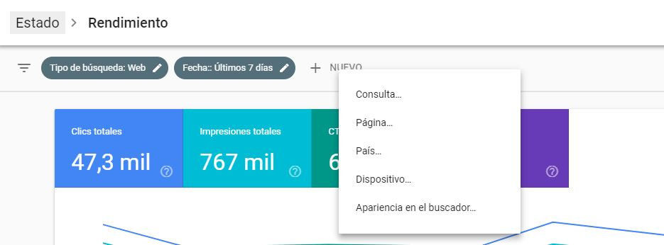 Google Search Console te permite filtrar diversos campos.