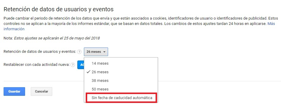 Retención de datos Google Analytics