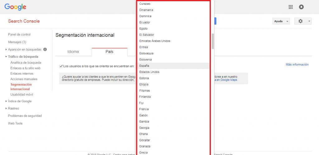 Search Console selección de país para dominio