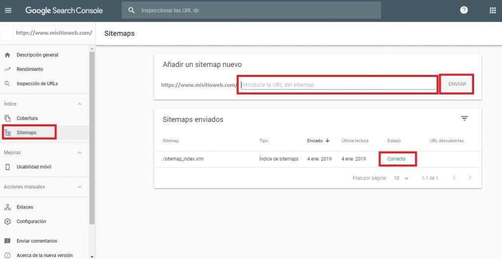 Subir sitemap Search Console nueva