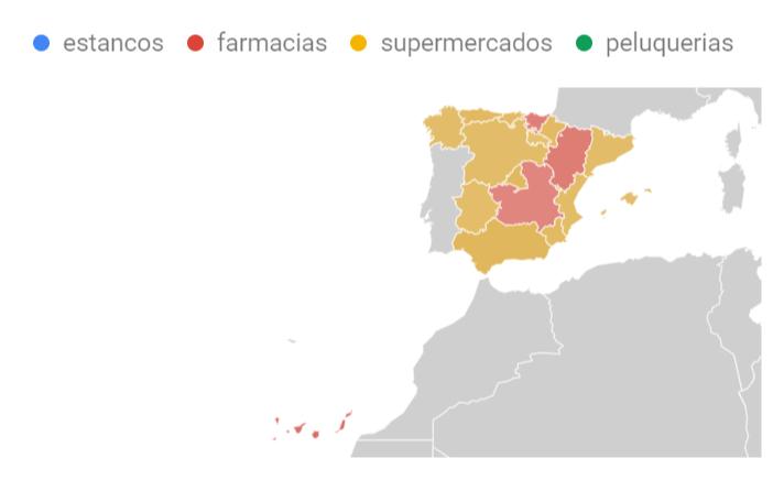 Mapa de búsquedas de supermercados y farmacias más habituales por territorio